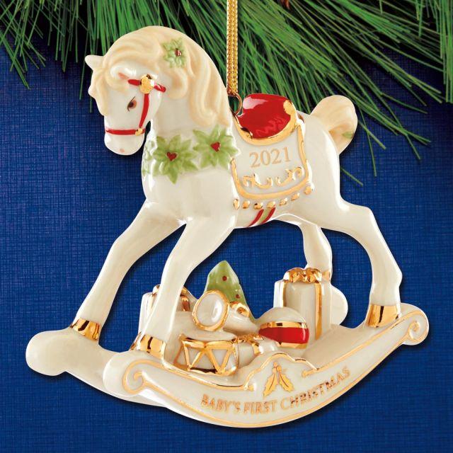 Lenox Babys First Christmas Ornament 2021 Sterling Collectables 2021 Lenox Baby S 1st Christmas Rocking Horse Porcelain Ornament