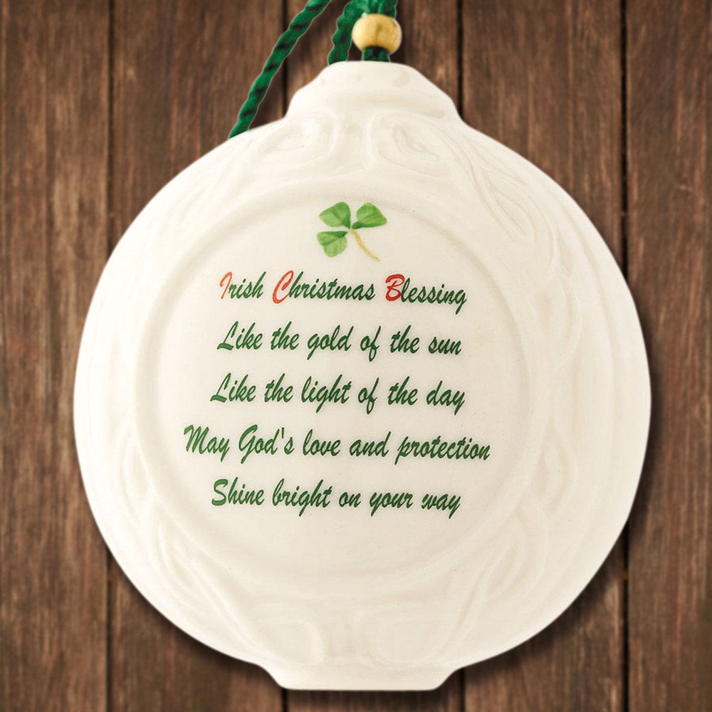 Belleek Christmas Verse Ball Ornament | Sterling Collectables