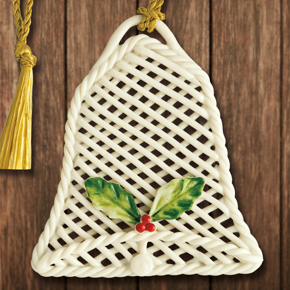 Basket Weaving Ornaments : Belleek basket weave bell ornament sterling collectables