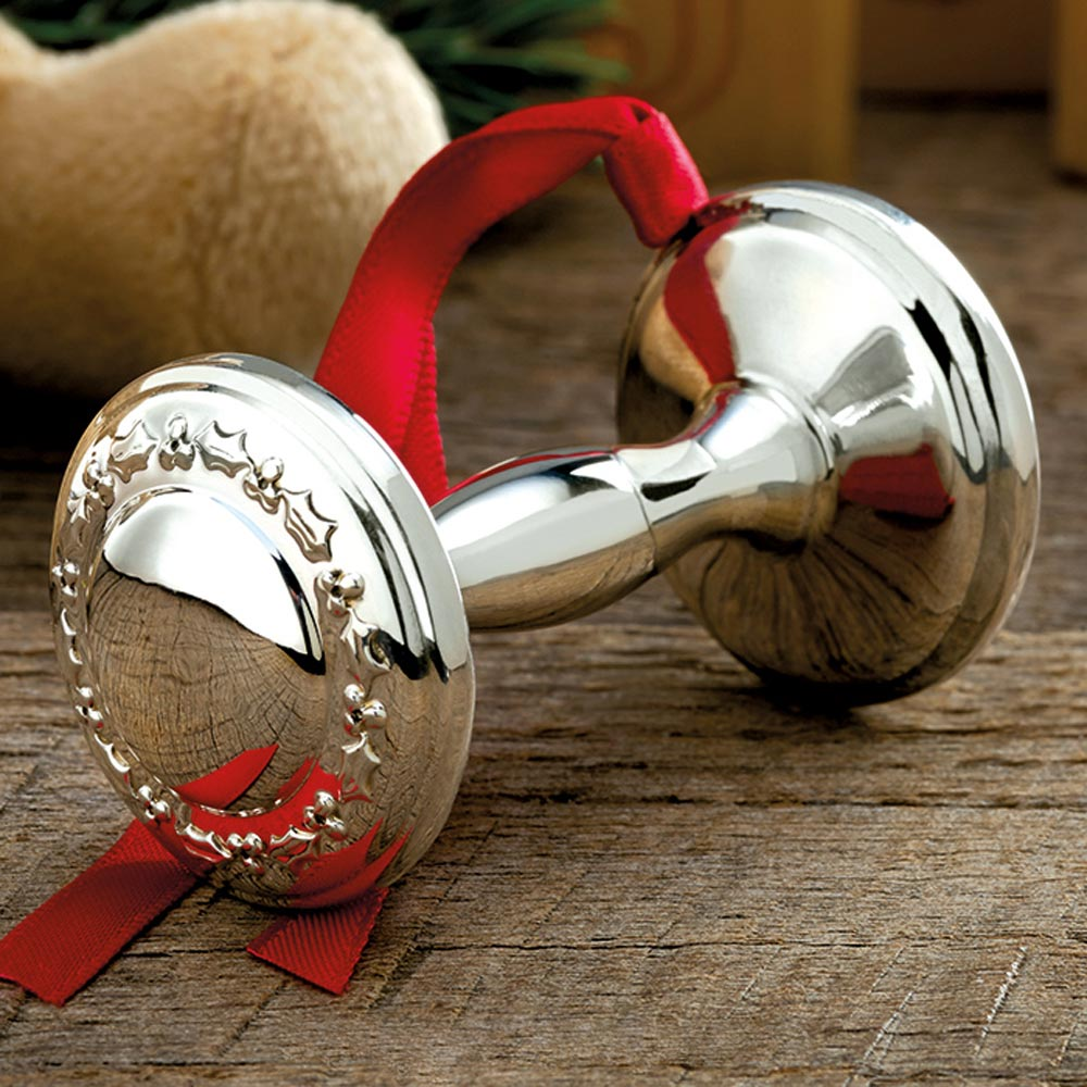 2016 Empire Silver Baby Rattle Sterling Ornament