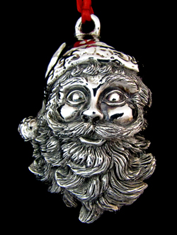 Gumps Santa Head Sterling Ornament | Sterling Collectables