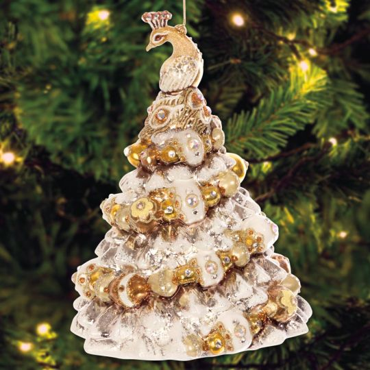 jay strongwater peacock christmas tree ornament - Peacock Christmas Tree
