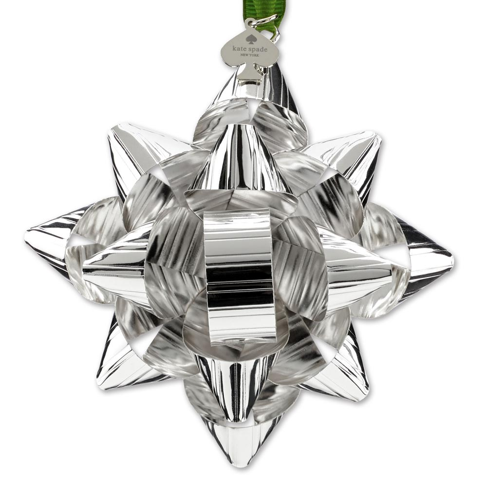 kate spade Tinsel Topper Silver Bow Ornament   Sterling Collectables