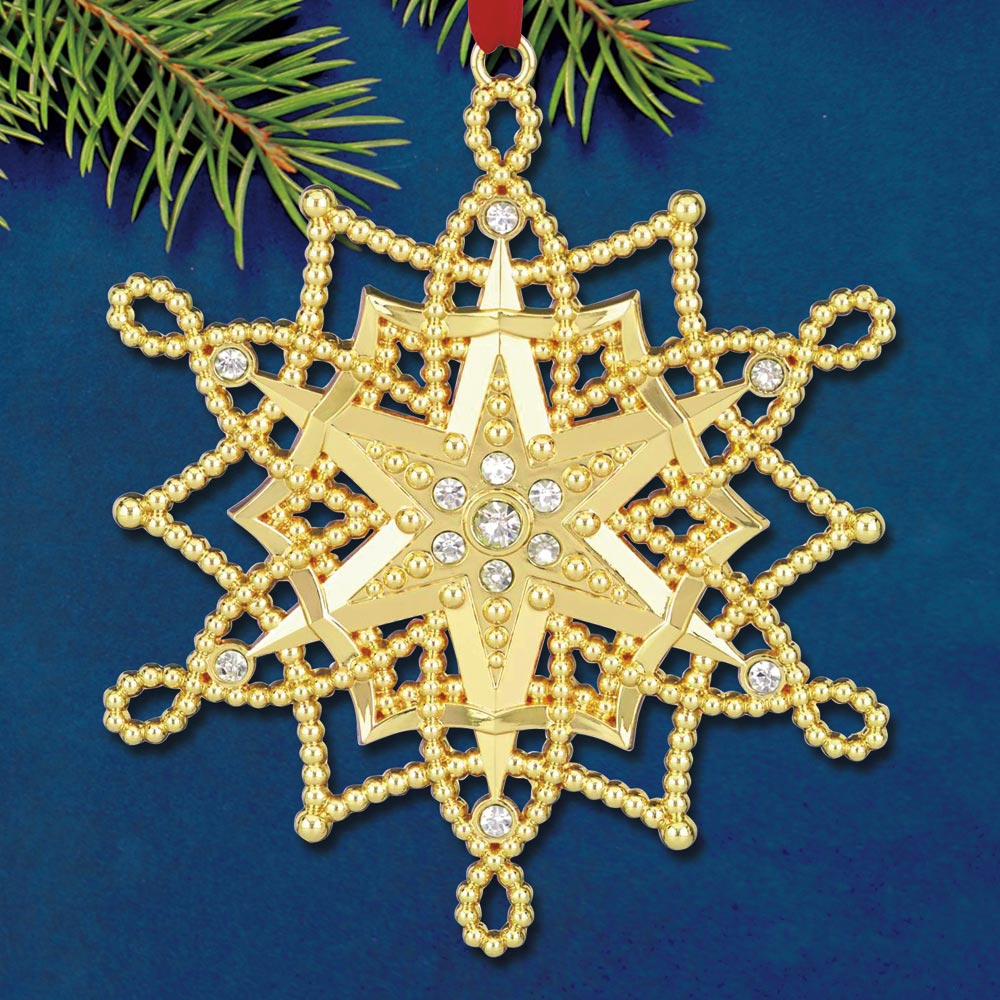 Lenox Colors Of Gold Snowflake Goldplate Ornament