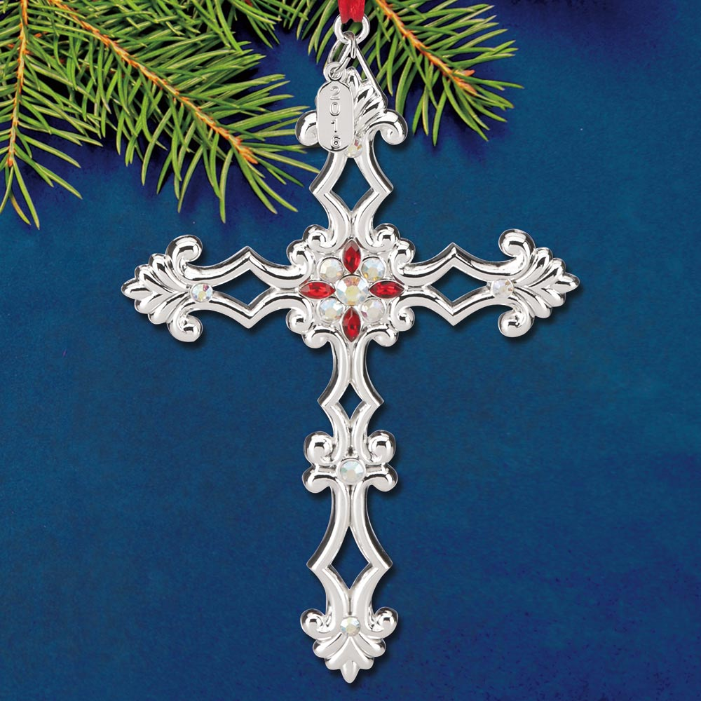 2016 Lenox Gemmed Cross Silverplate Ornament Sterling