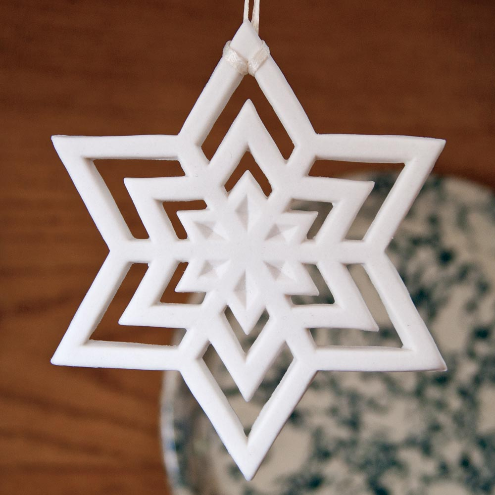margaret furlong snowflake star porcelain ornament