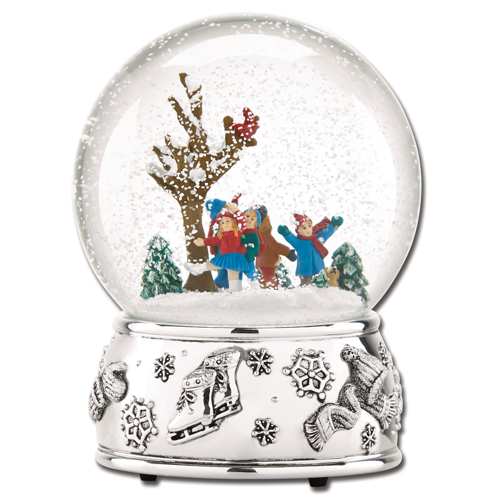 Reed Amp Barton Ice Skating Musical Snowglobe Sterling