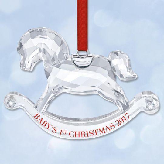 2017 swarovski babys first christmas rocking horse crystal ornament