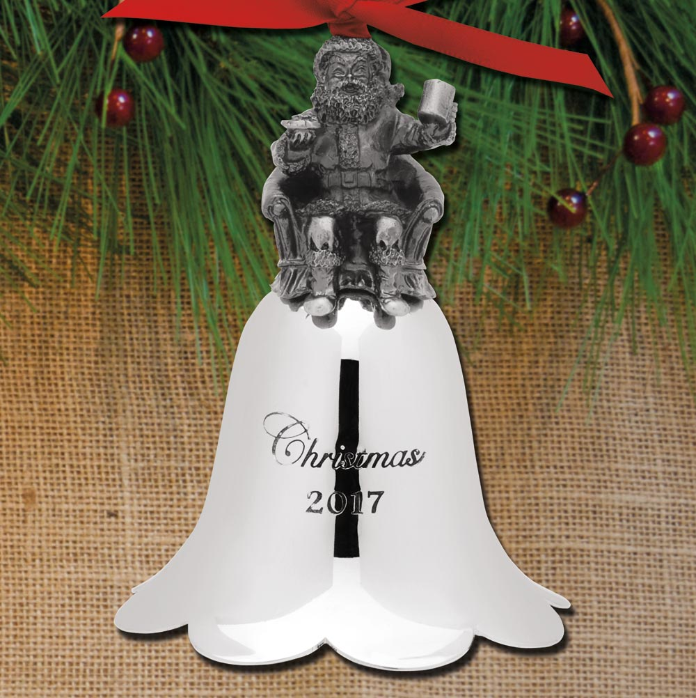 2017 wallace santa bell 26th edition pewter ornament