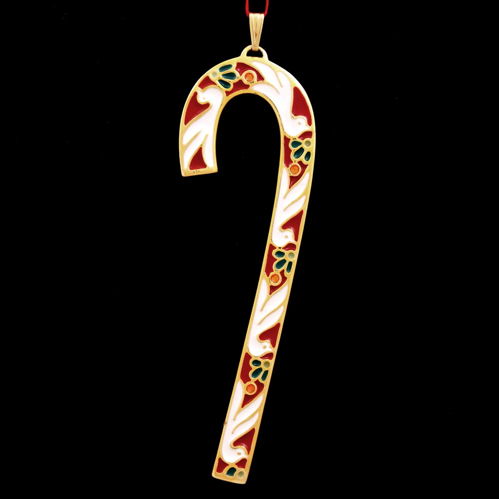 1985 Wallace Candy Cane Goldplate Amp Enamel Ornament