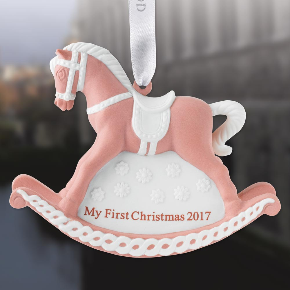 2017 Wedgwood Pink Baby S First Christmas Rocking Horse