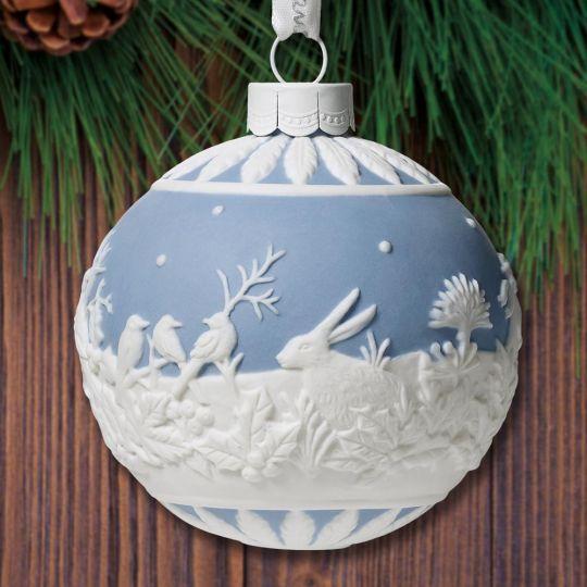 Wedgwood Christmas Ornaments 2019.2019 Wedgwood Winter Walk Ball Porcelain Ornament
