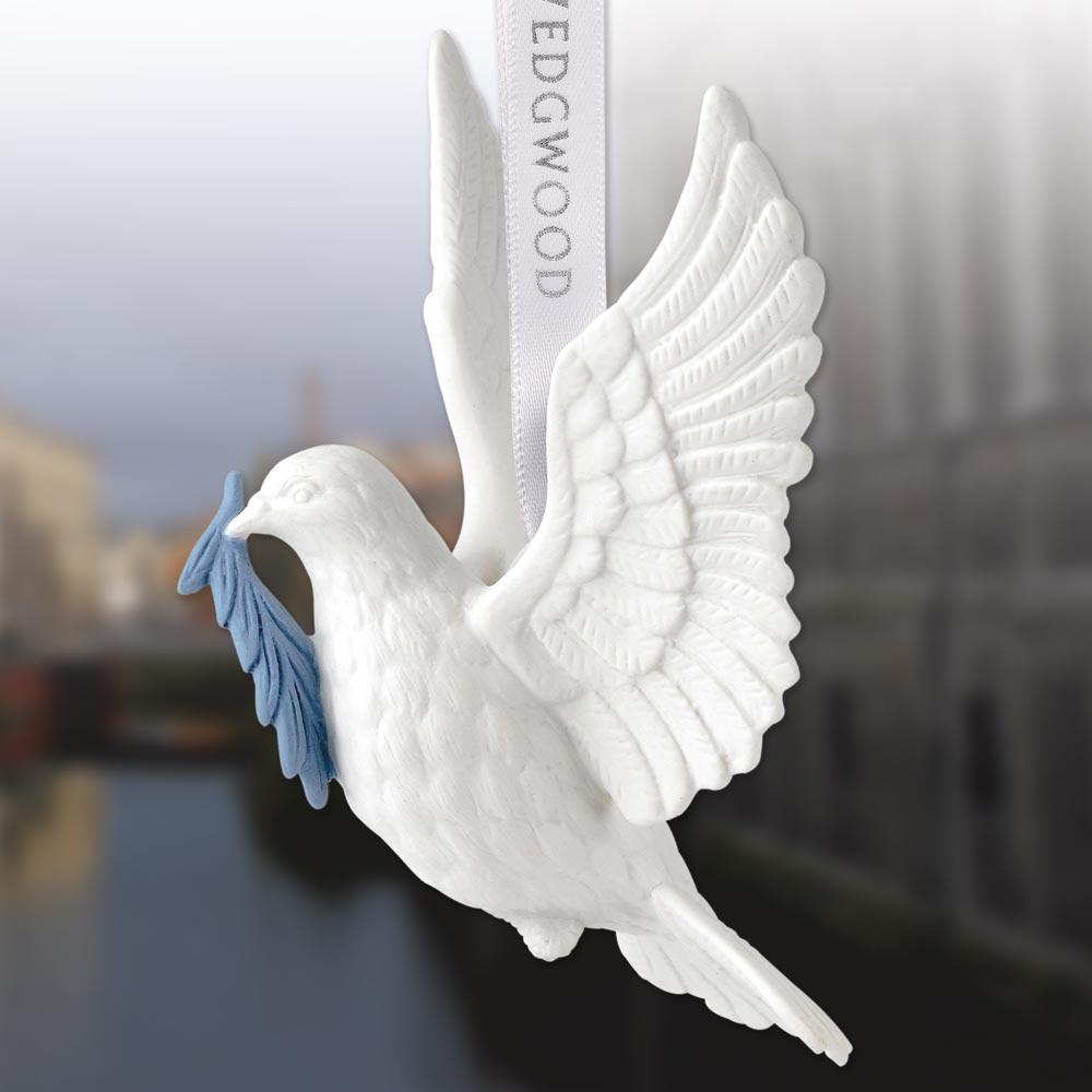 Wedgwood Figural Dove Porcelain Ornament Sterling