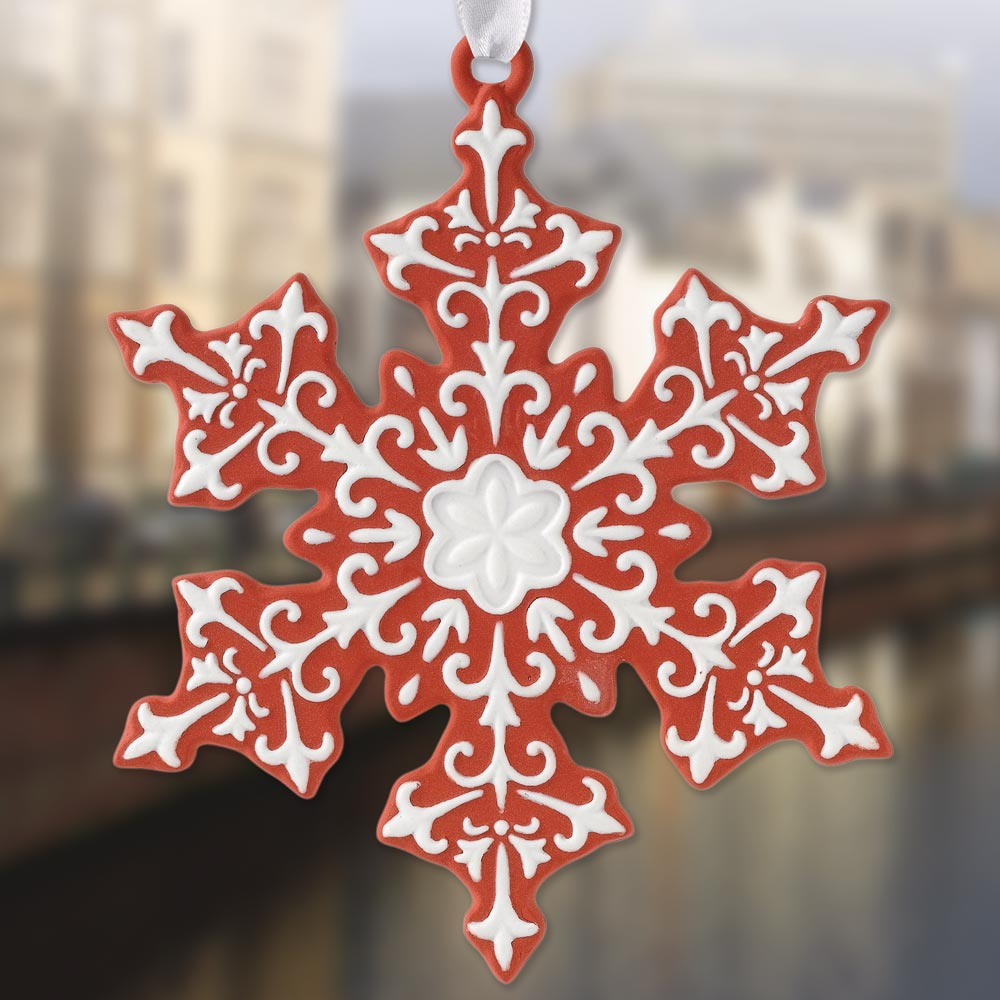 Wedgwood Red Snowflake Porcelain Ornament Sterling